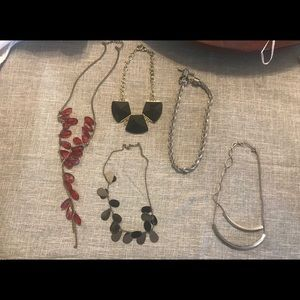 5pc Necklace Lot - Long/ Short - Black/Red/Silver